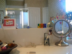 Look at the cute little girls stuck on my round mirror.  Circle of friends!  Lots of JOY here